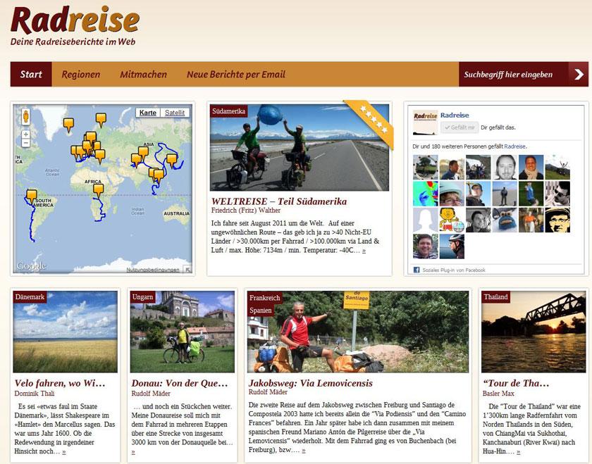 Die neue Radreise-Website www.radreise.de: Einladend gestaltet.
