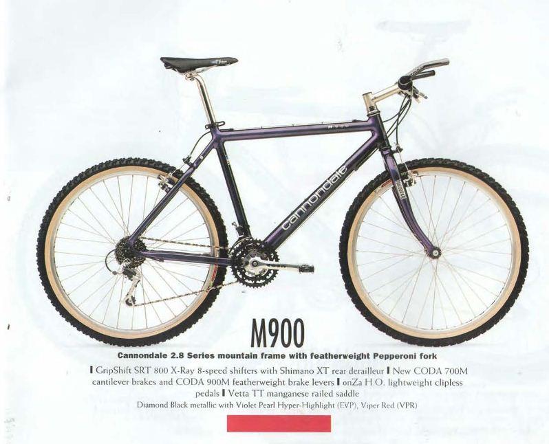 Das original Cannondale M900-Bike aus dem Katalog von 1996.