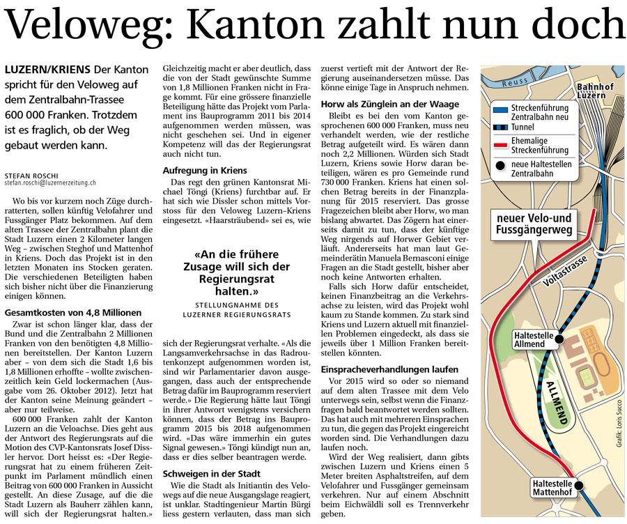 Die «Neue Luzerner Zeitung» berichtet in ihrer Ausgabe vom 3. September 2013 über die Misere.