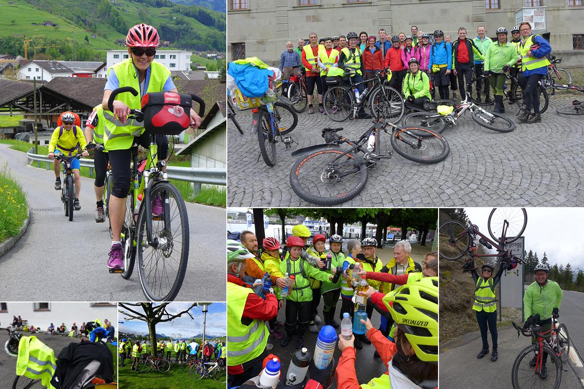Farbig, sonnig, fröhlich, energiespendend: Eindrücke von der Velowallfahrt 2015 von Luzern nach Einsiedeln.