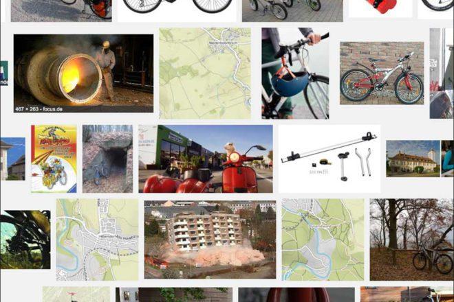 Das kommt heraus, wenn man Bilder nach den Stichwörtern «Dynamit» und «Fahrrad» googelt. Nicht so weit vom Gesuchten entfernt. | © 2016 Google